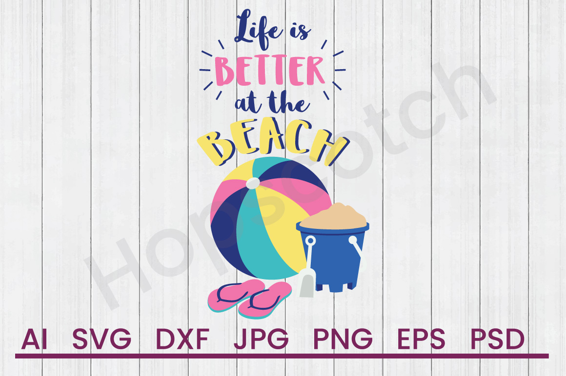 Beach Items SVG, Life Is SVG, DXF File, Cuttatable File example image 1
