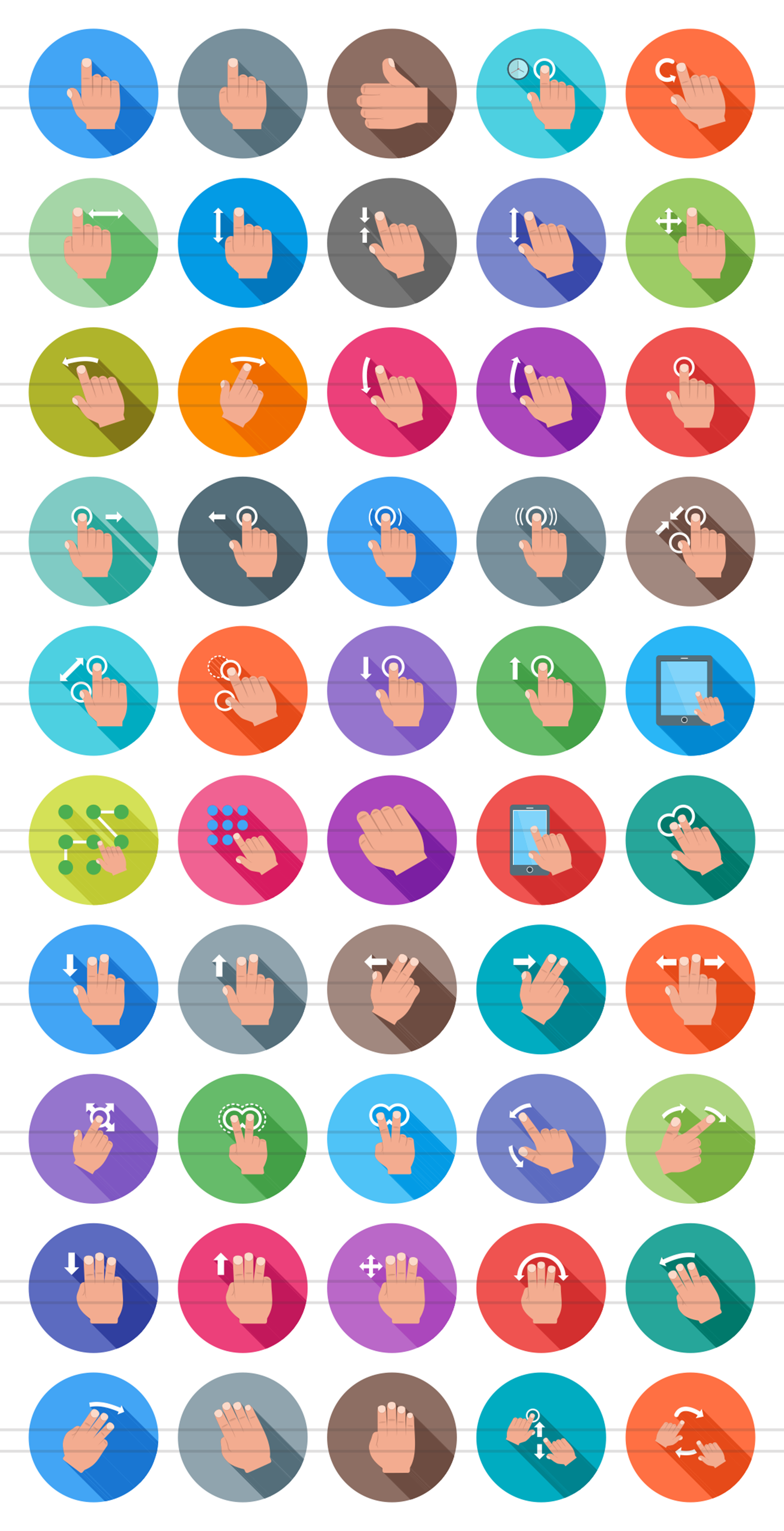 50 Touch Gestures Flat Long Shadow Icons example image 2