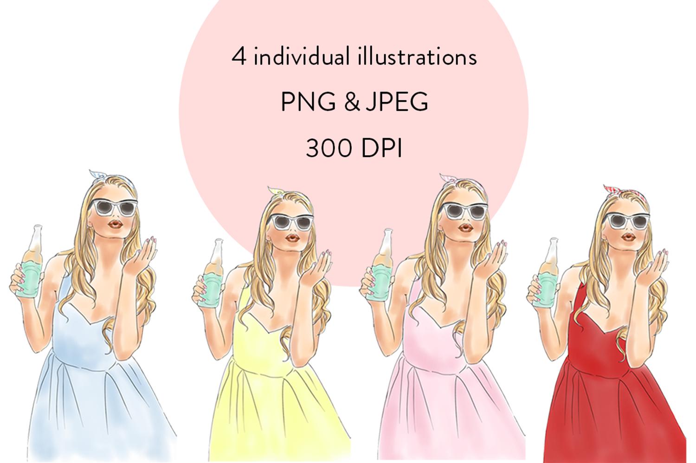 Soda pop girls watercolour clipart  example image 2