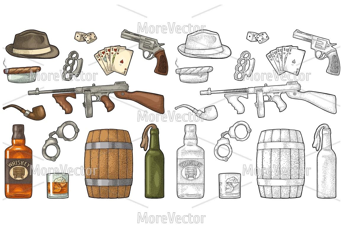 Gangster mafia set. Engraving vintage example image 1