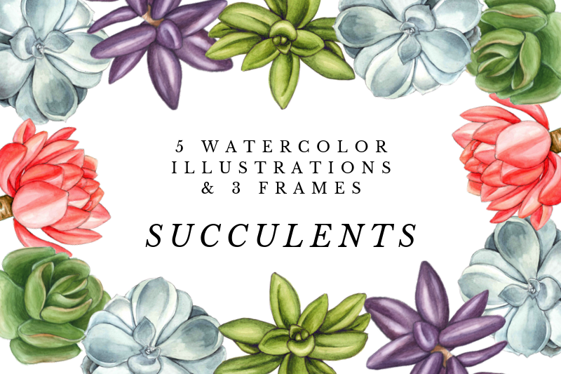 Watercolor Succulents Cliparts, Floral Wreath Wedding example image 1