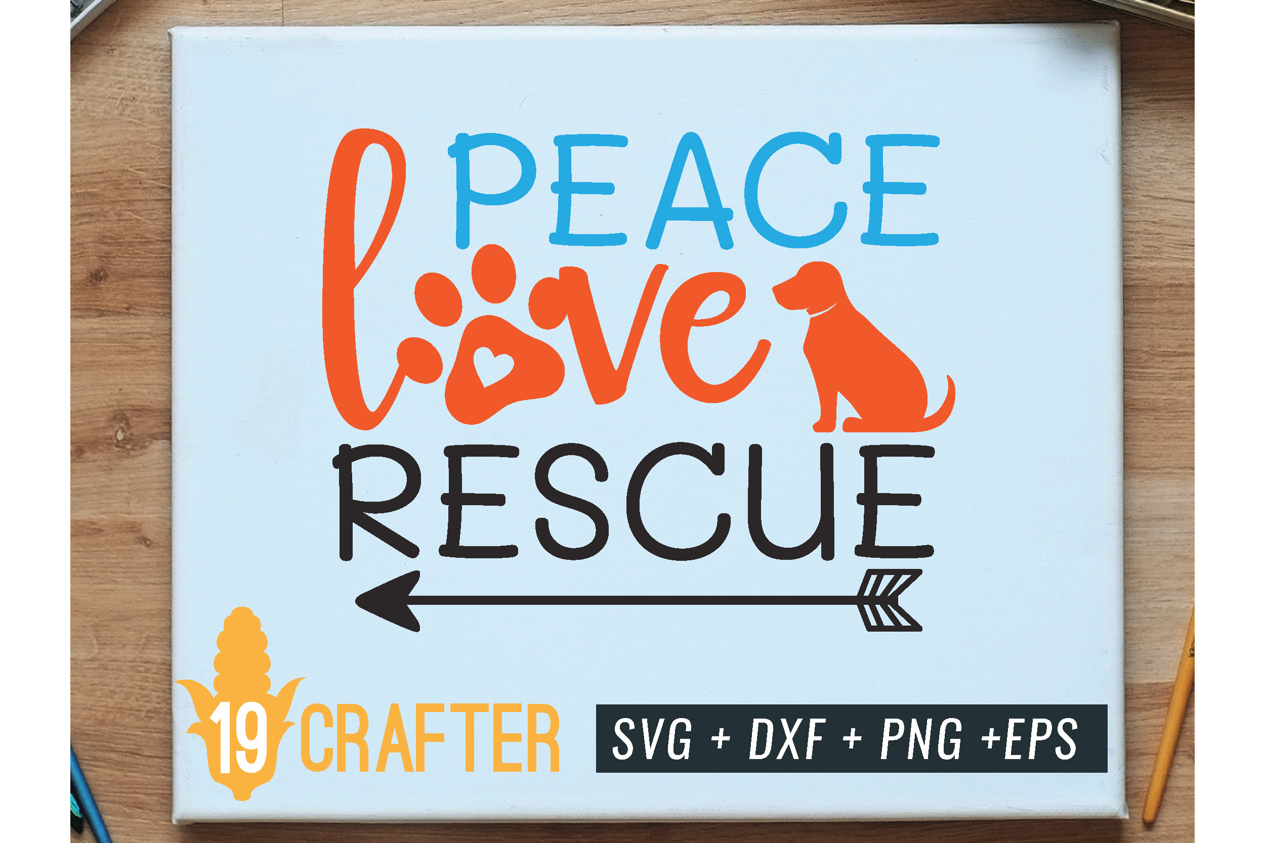 peace love rescue animal svg cut file example image 1