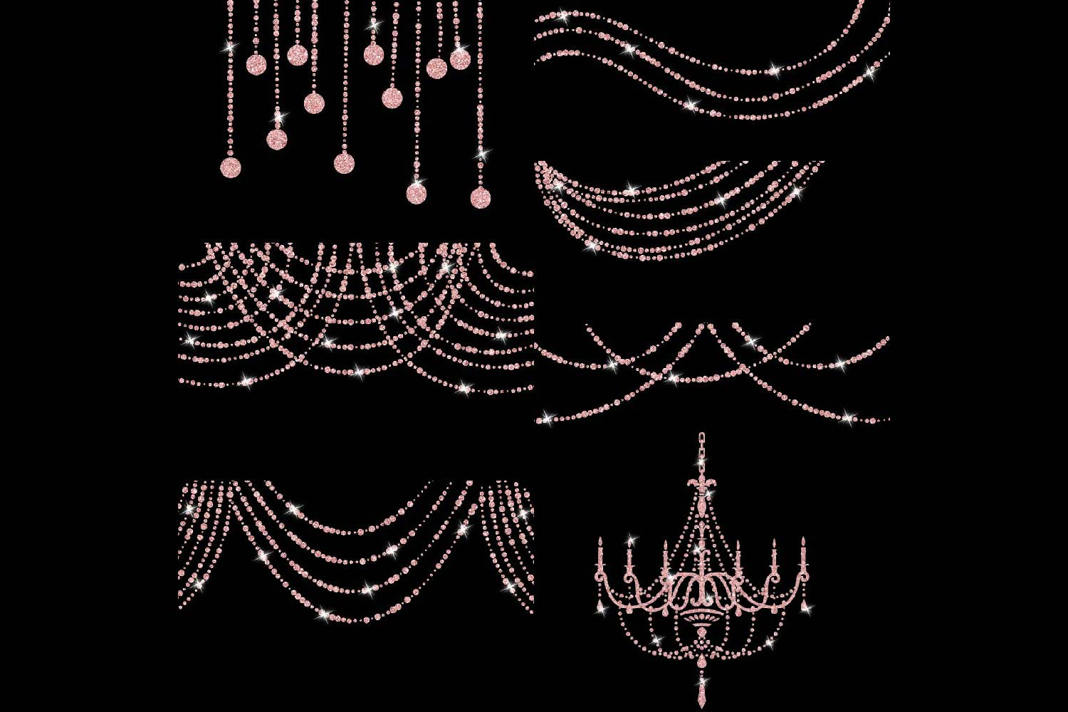 Rose Gold Glitter String Lights Clipart example image 3