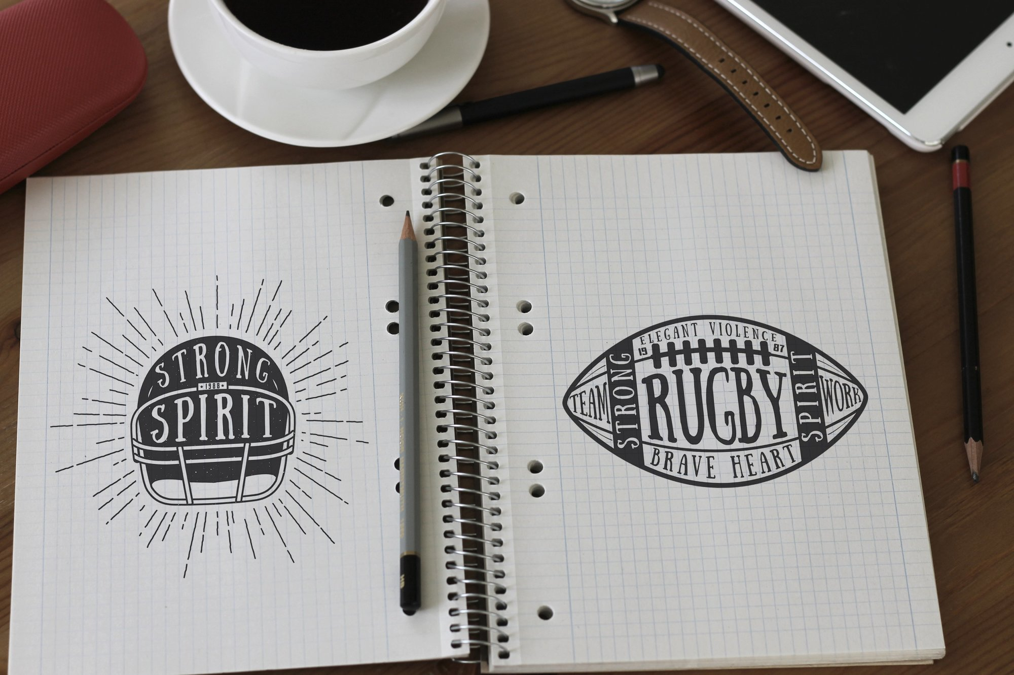 Football and Rugby Emblems Bundle example image 2