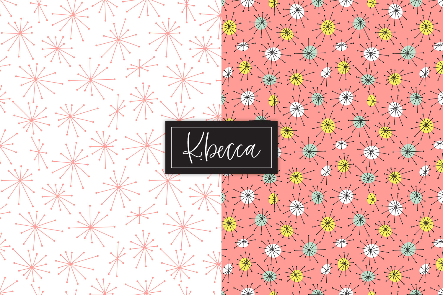 Retro 1950s Background Patterns Seamless example image 2