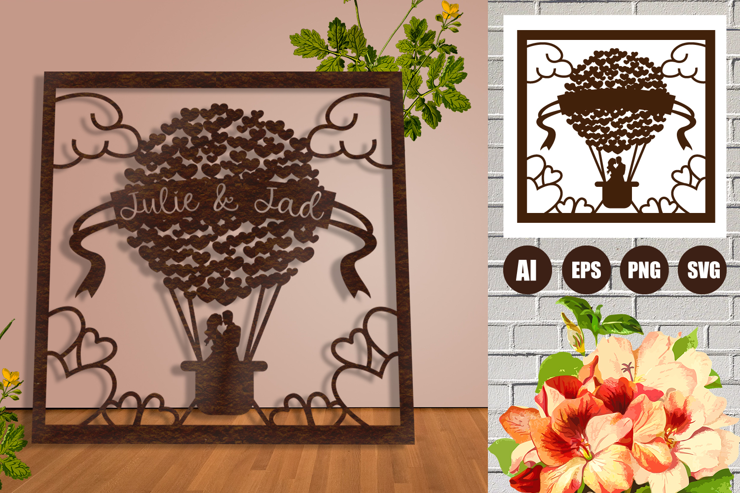 Frame Wedding Hearts Balloon Paper Cut SVG, AI, EPS example image 1