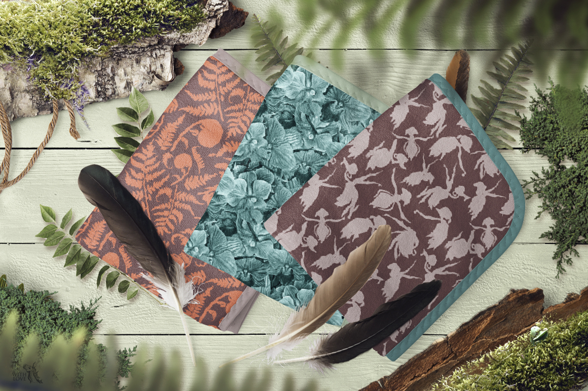 Forest Botanical Watercolor Patterns example image 6