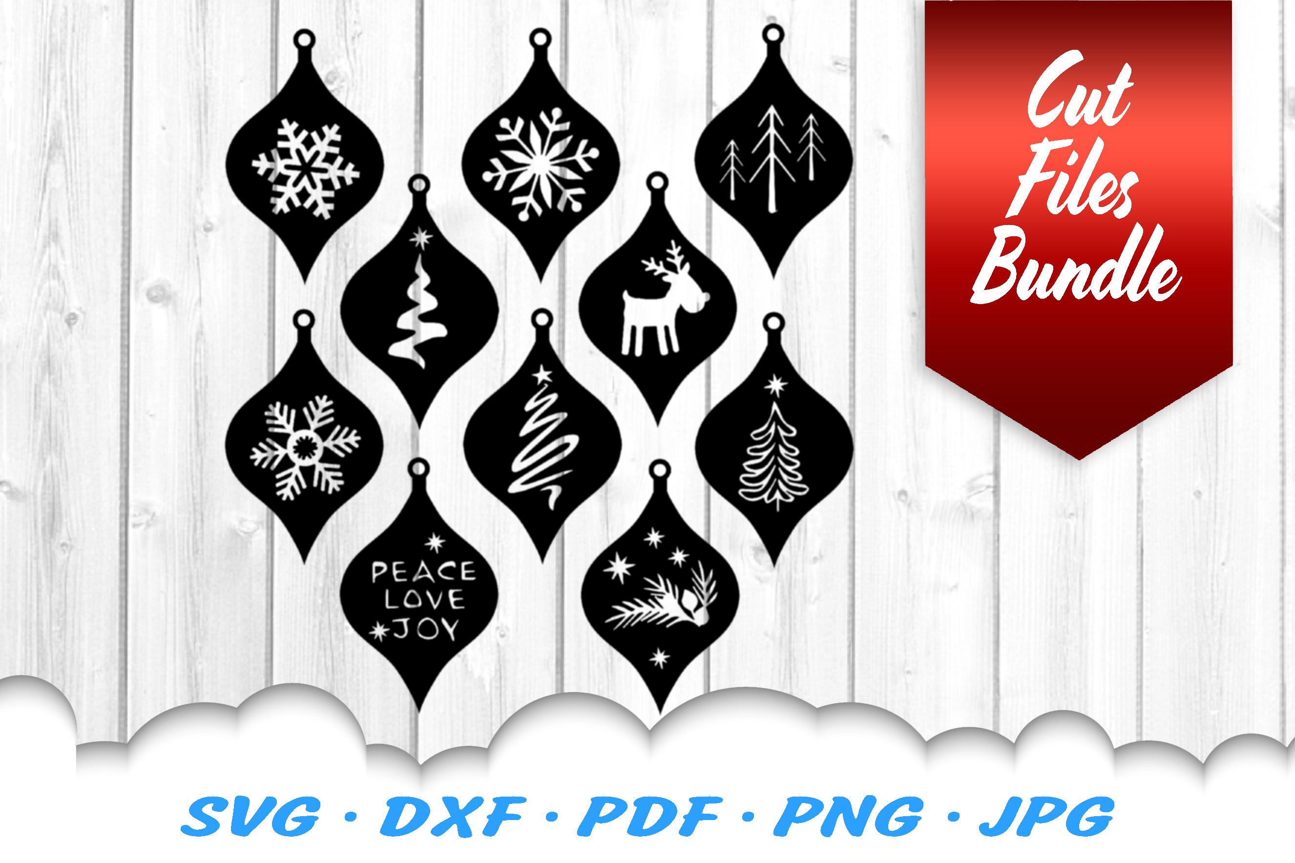 Christmas Ornaments Earrings SVG DXF Cut Files Bundle example image 2
