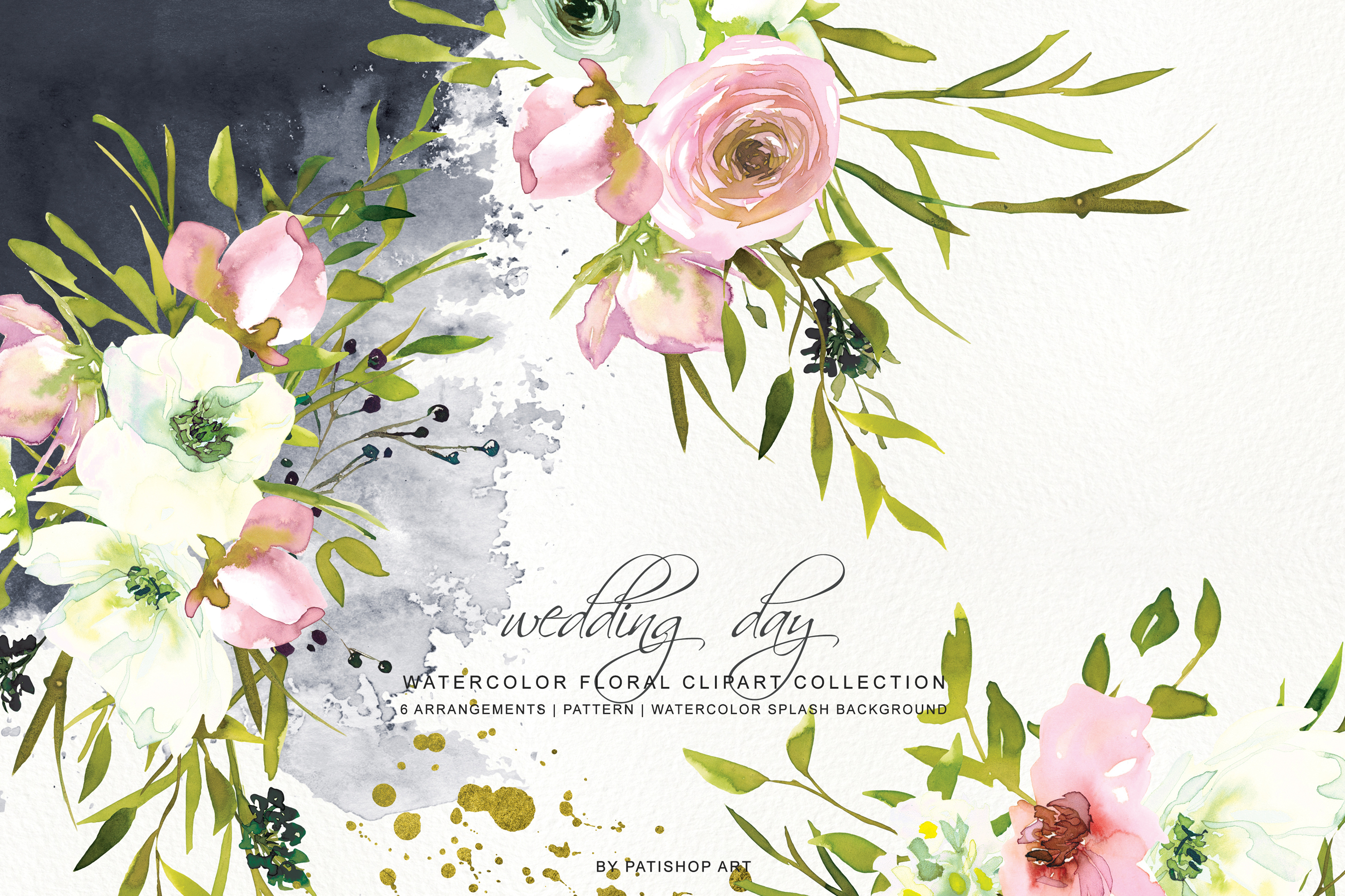 Watercolor Blush and White Florals Clipart Seamless Pattern example image 2