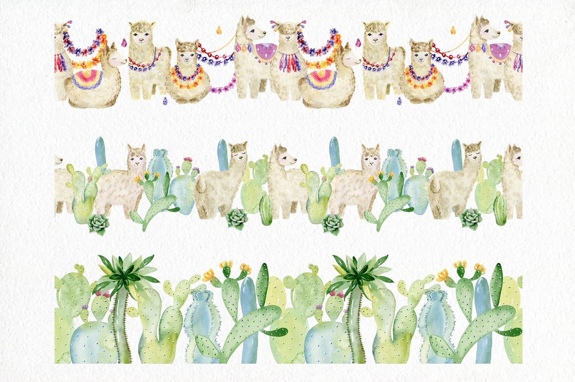 Watercolor llamas. Kit. example image 6