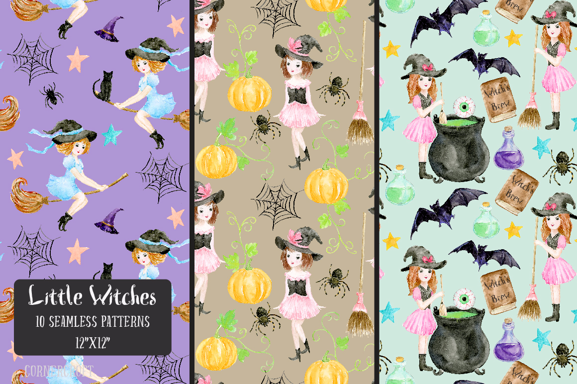 Little Witches Watercolor Design Kit example image 8
