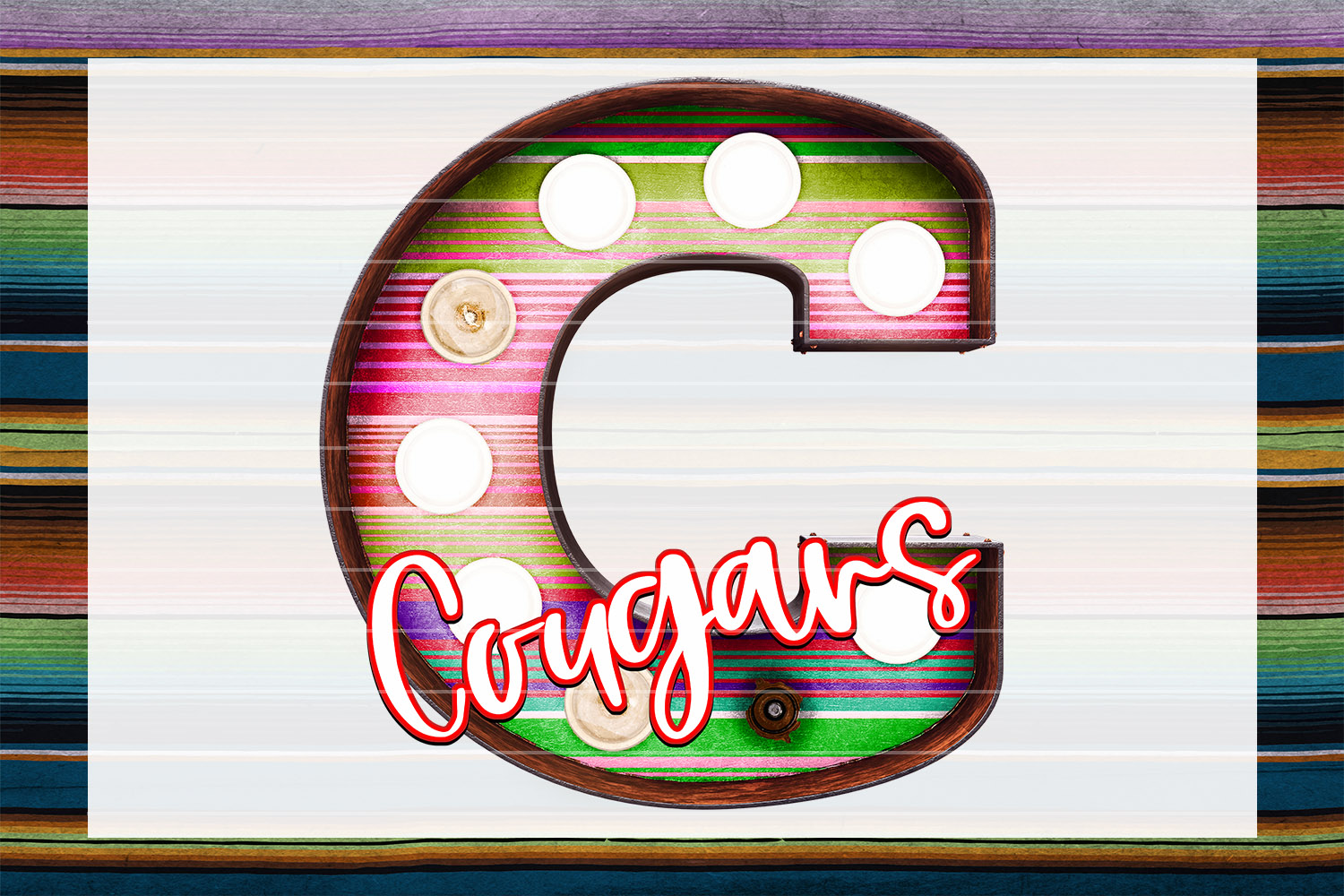 Cougars Sunset Serape Marquee Sublimation PNG example image 1