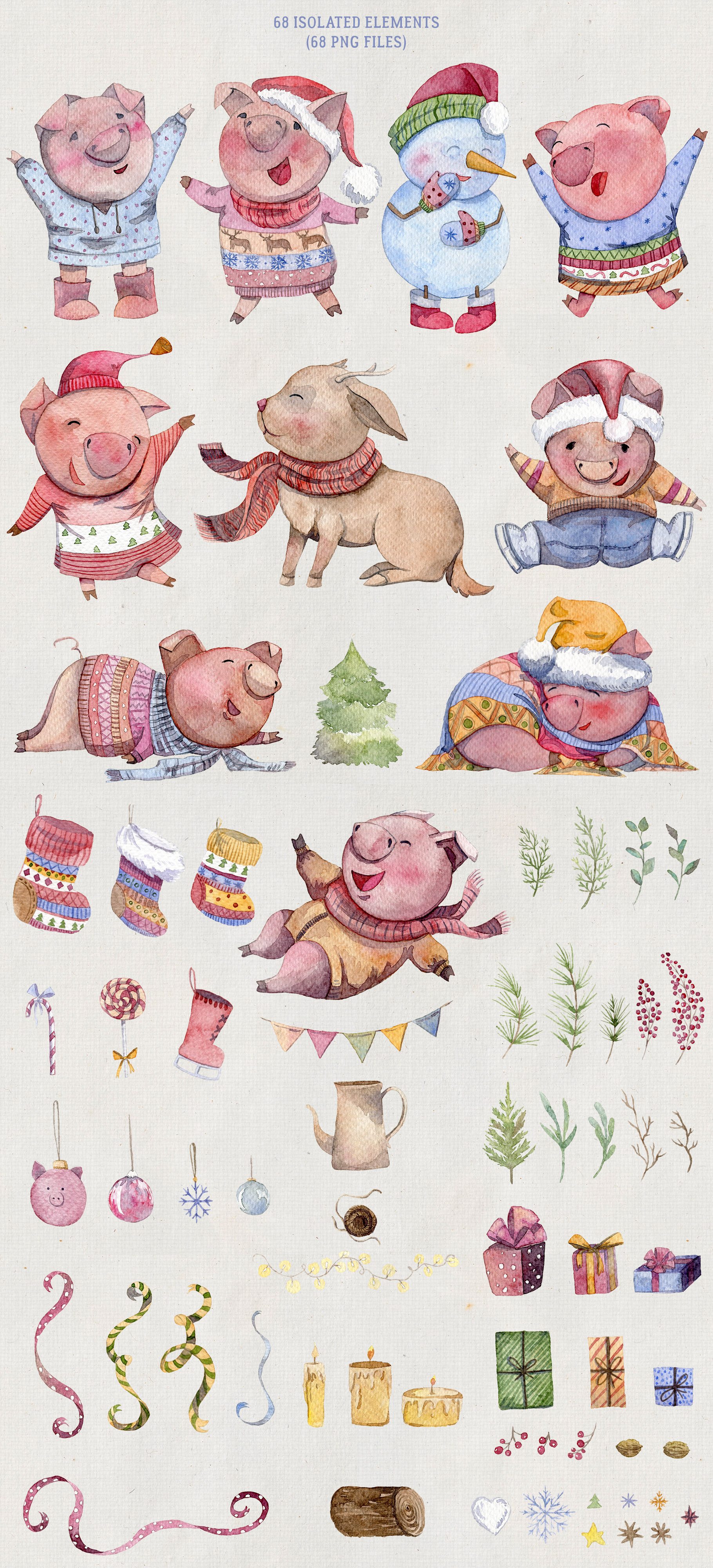 Merry pigsmas. Watercolor collection example image 8