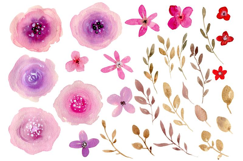 Purple & pink watercolor flowers example image 2
