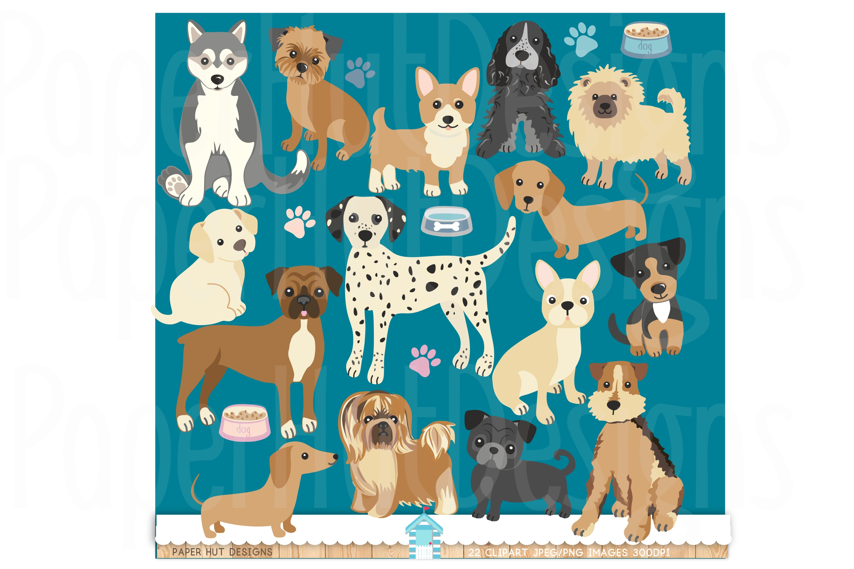 Dog & Puppies Clipart Set example image 1