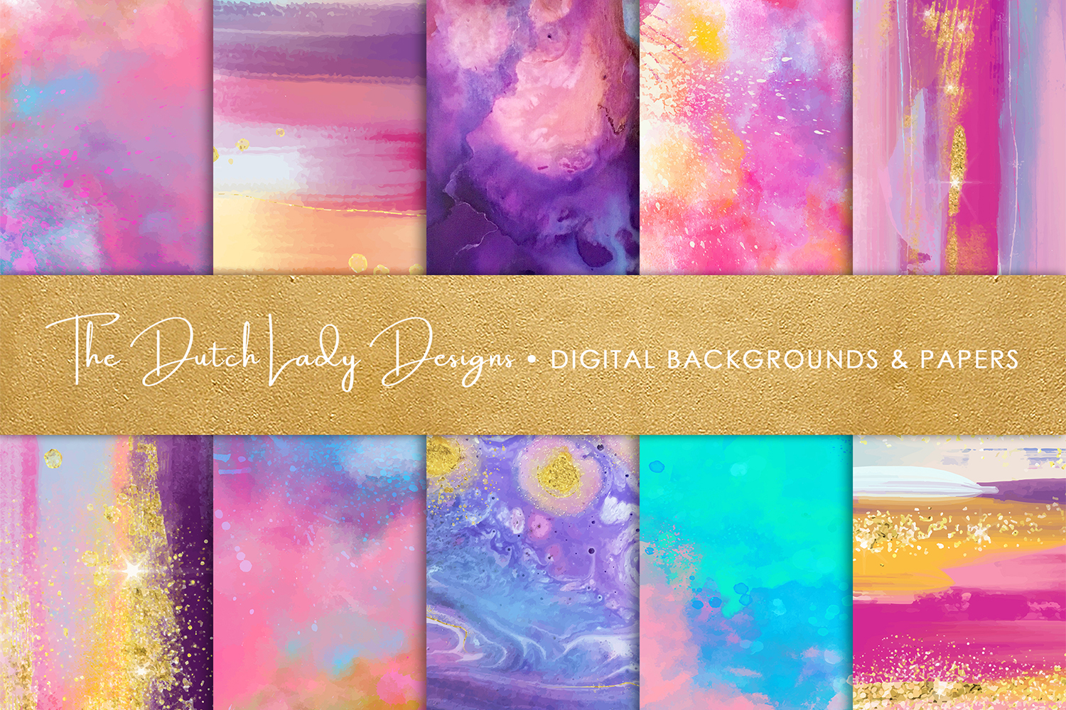 Colorful Brush Strokes & Stains Background Textures example image 1