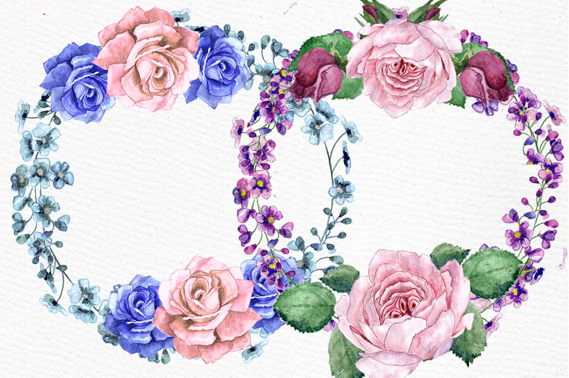 Watercolor wreaths clip art example image 4