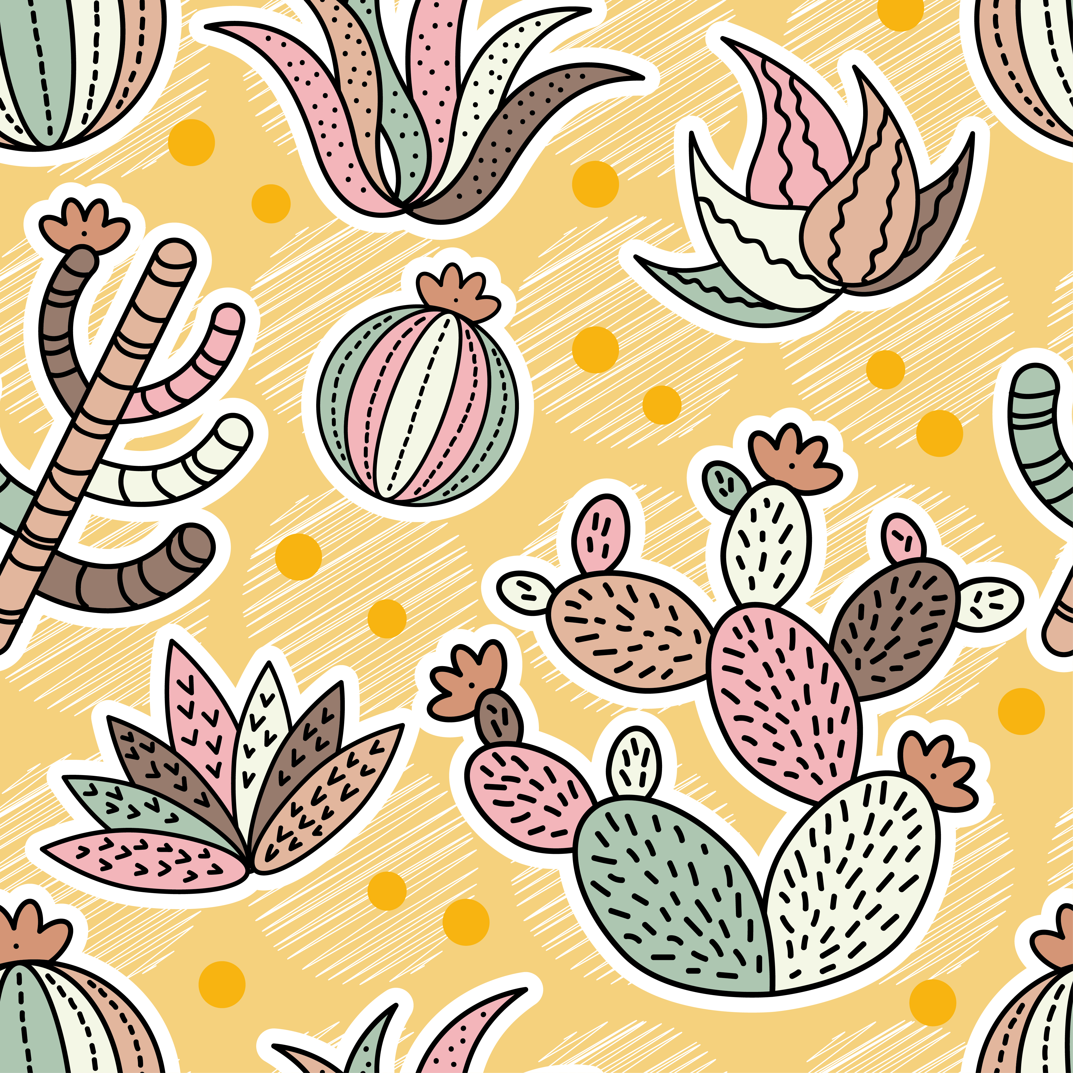 Cactus seamless pattern background. Vector illustration. Textile rapport.  example image 1