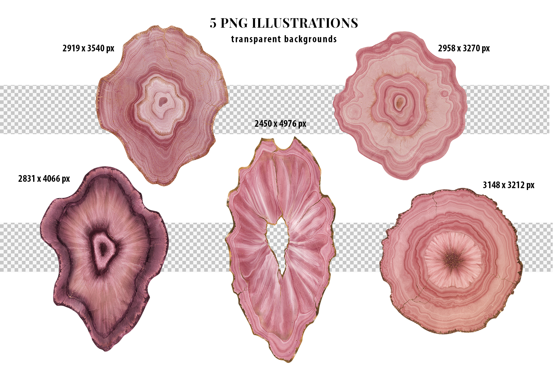 Pink Agate Illustrations, Textures & Patterns example image 12