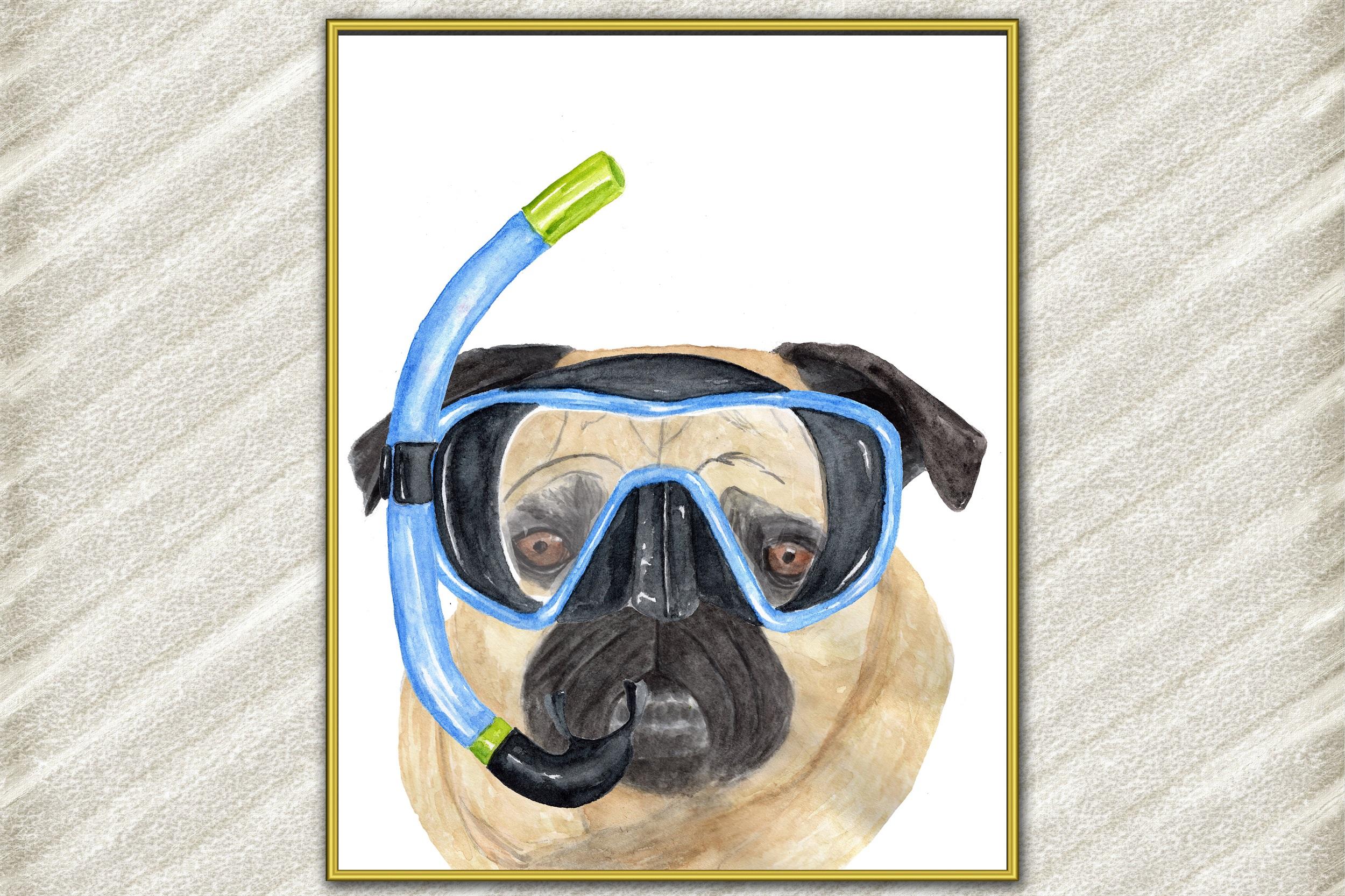 Fun Pug art print Cute pets prints Mops poster Funny dog example image 1