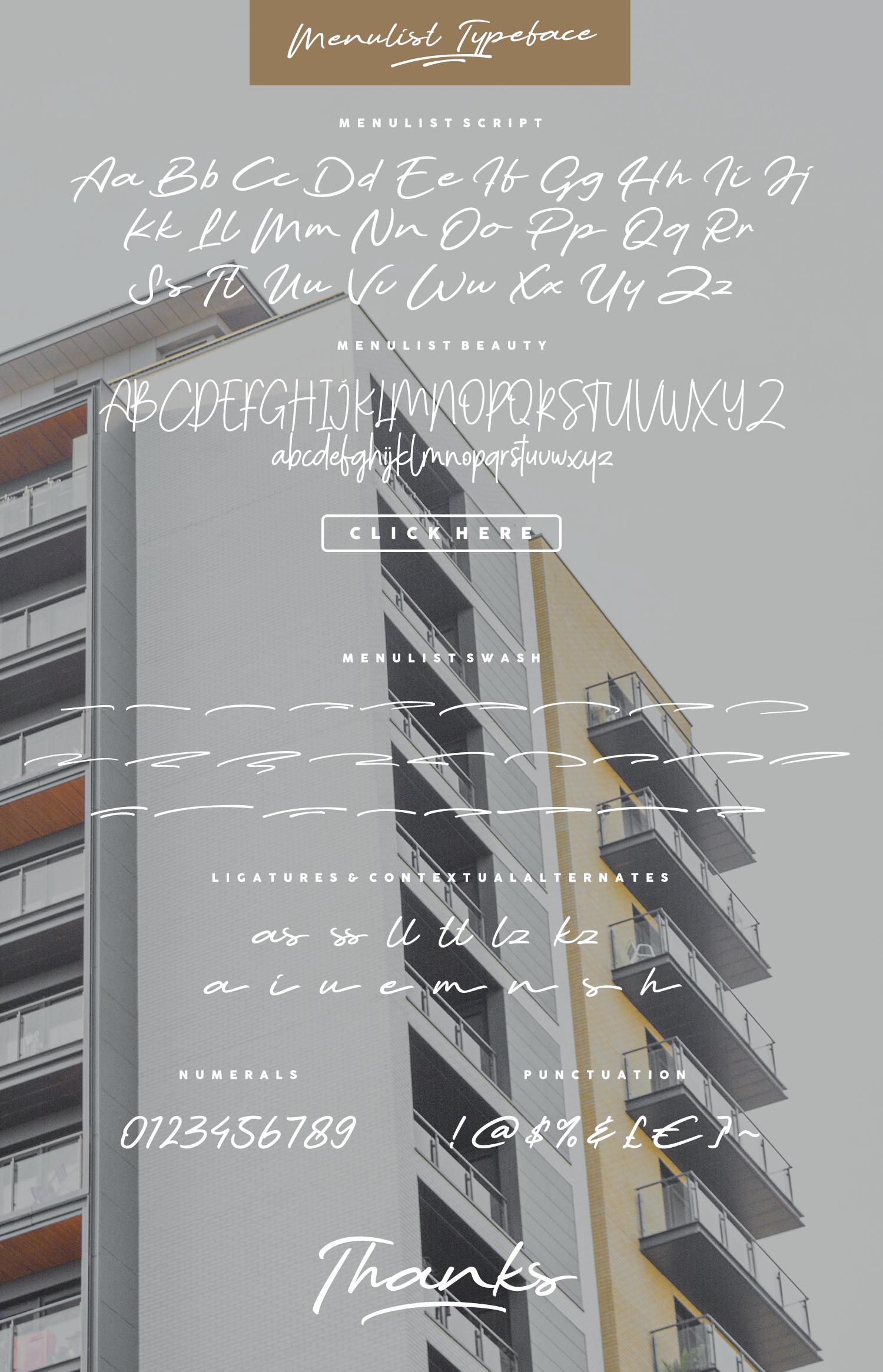 Menulist Typeface example image 13