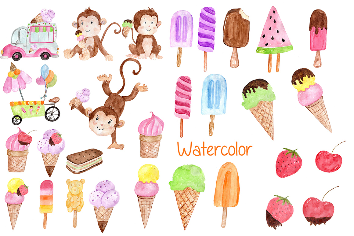 Watercolor Ice Cream clipart example image 2