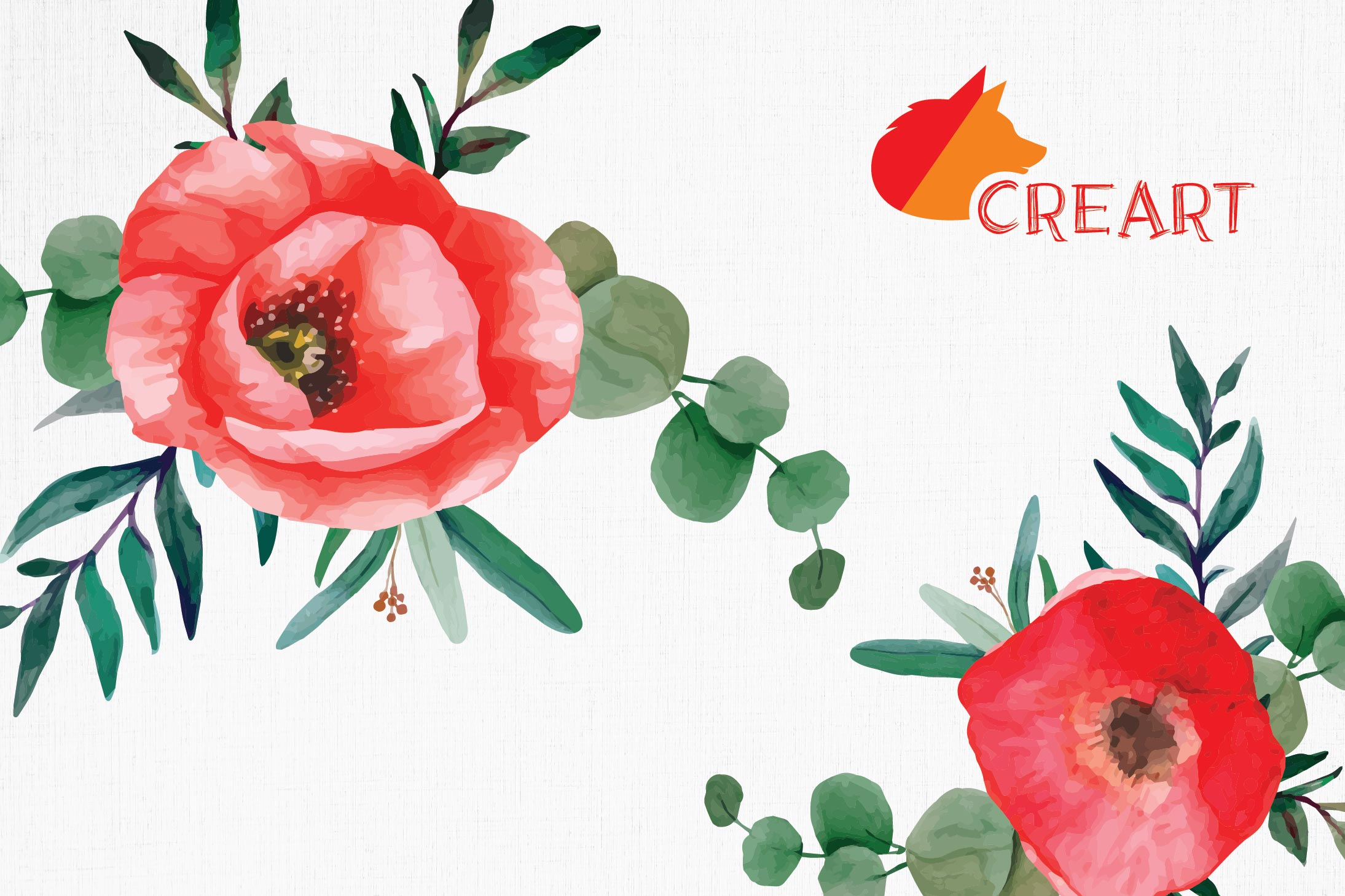 Red poppies floral watercolor wedding bouquets, floral decor example image 11