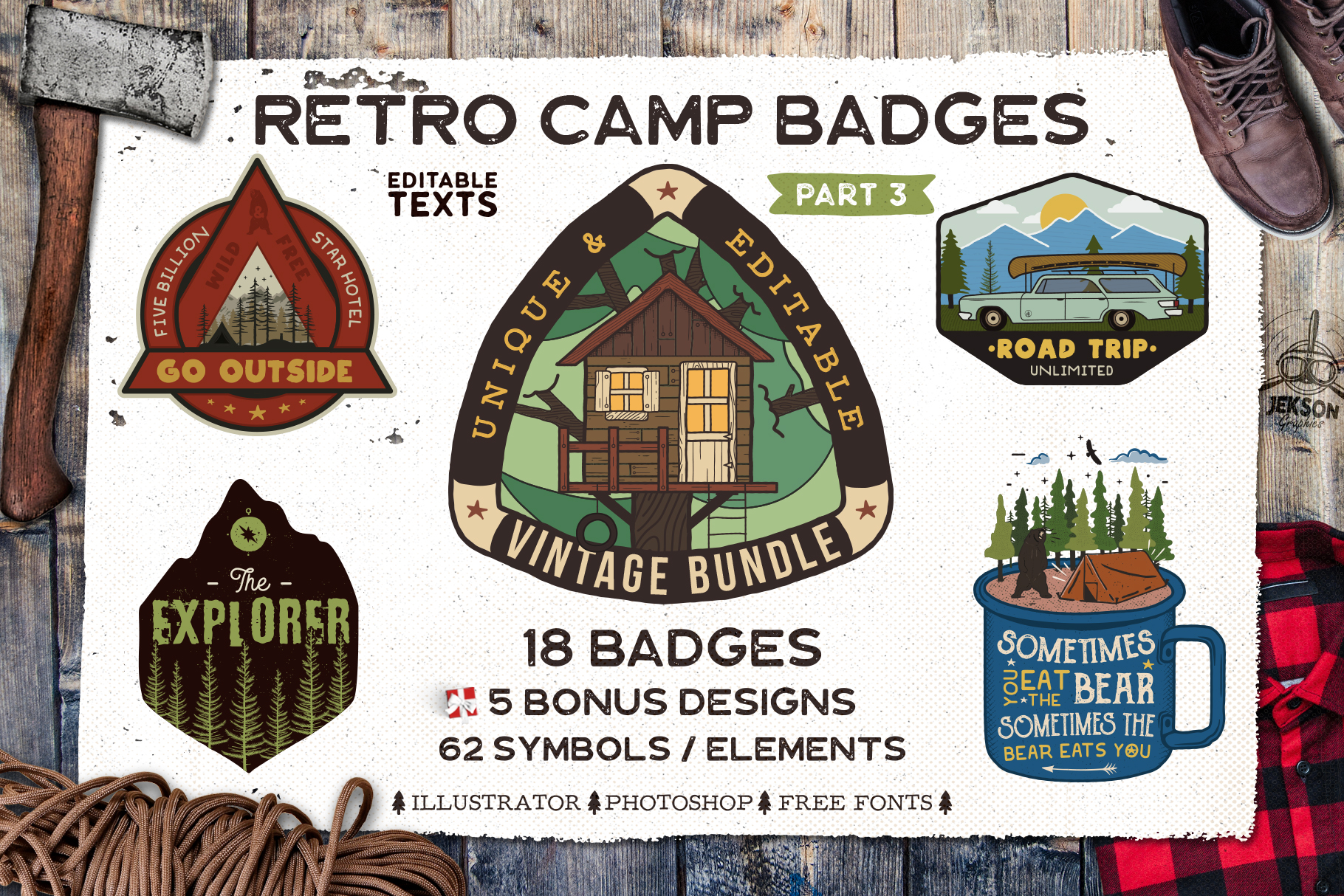 Retro Camp Badges | Adventure Patches. Part 3 | SVG Cut File example image 1