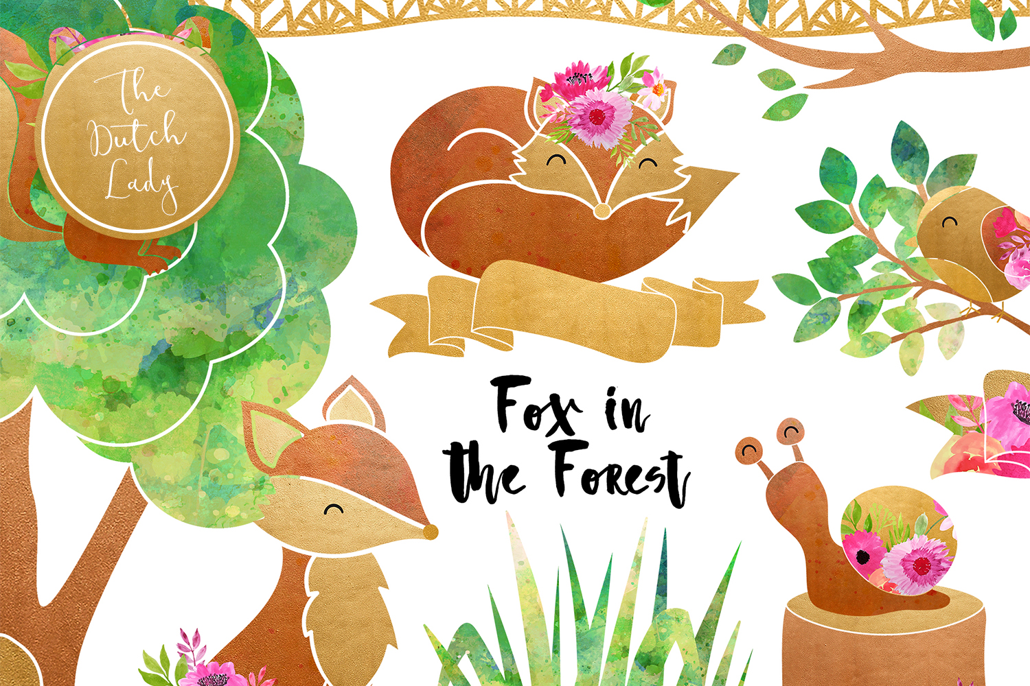 Fox & Forest Clipart Set example image 1