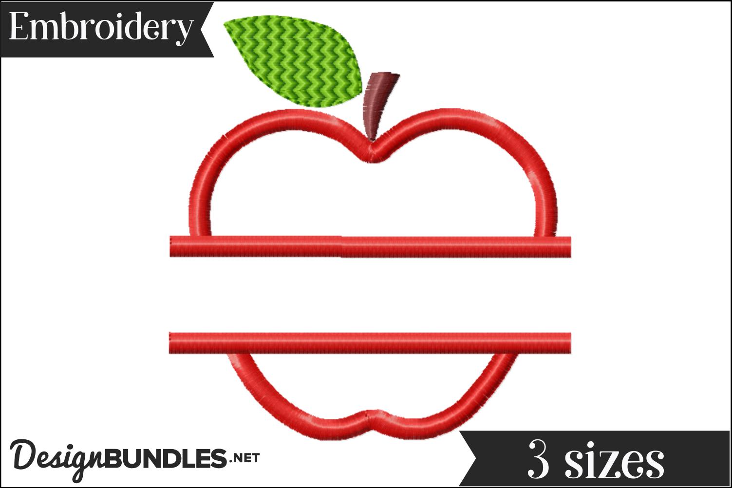 Apple Split Monogram Embroidery Design example image 1