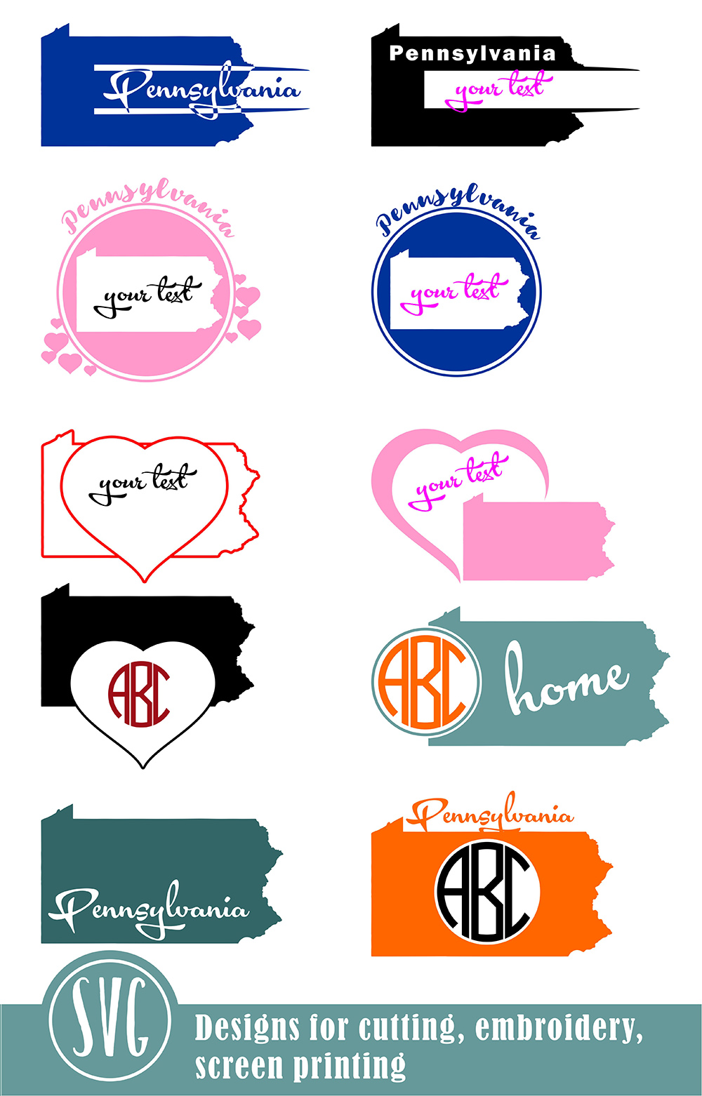 Pennsylvania Monograms SVG, JPG, PNG, DWG, CDR, EPS, AI example image 2