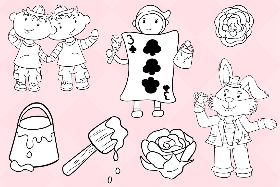 Wonderland Story Book Digital Stamps example image 3