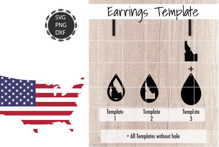 Earrings Template - Idaho Teardrop Earrings Svg example image 2