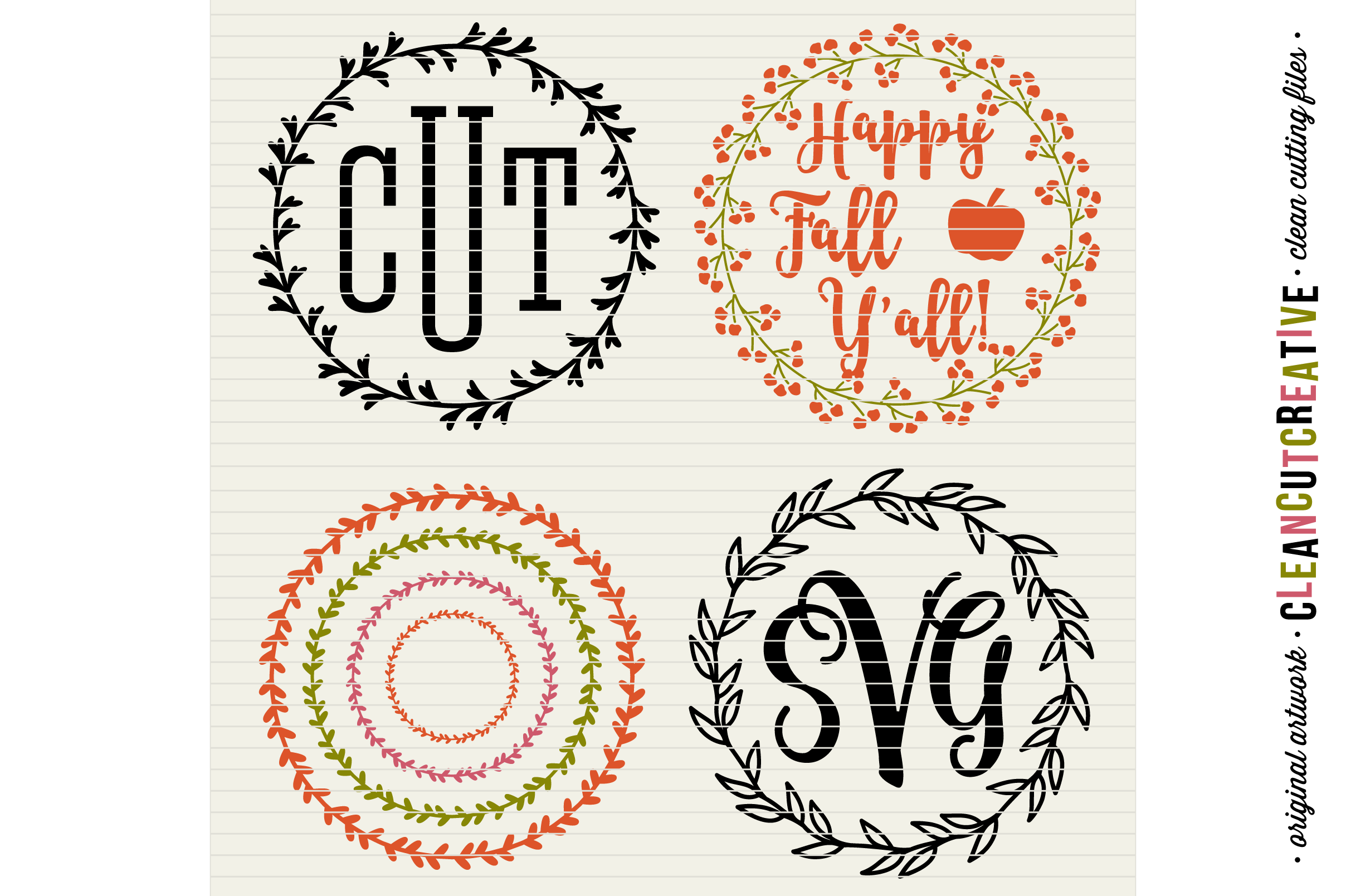15 svg FLORAL WREATHS floral leaf circleframes - SVG DXF EPS PNG - for Cricut and Silhouette Cameo - clean cutting digital files example image 6