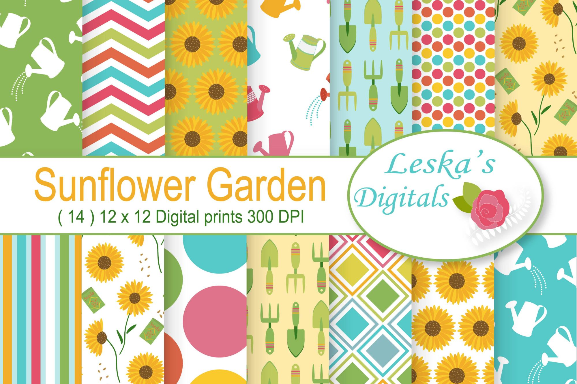 Sunflower Digital Paper example image 1