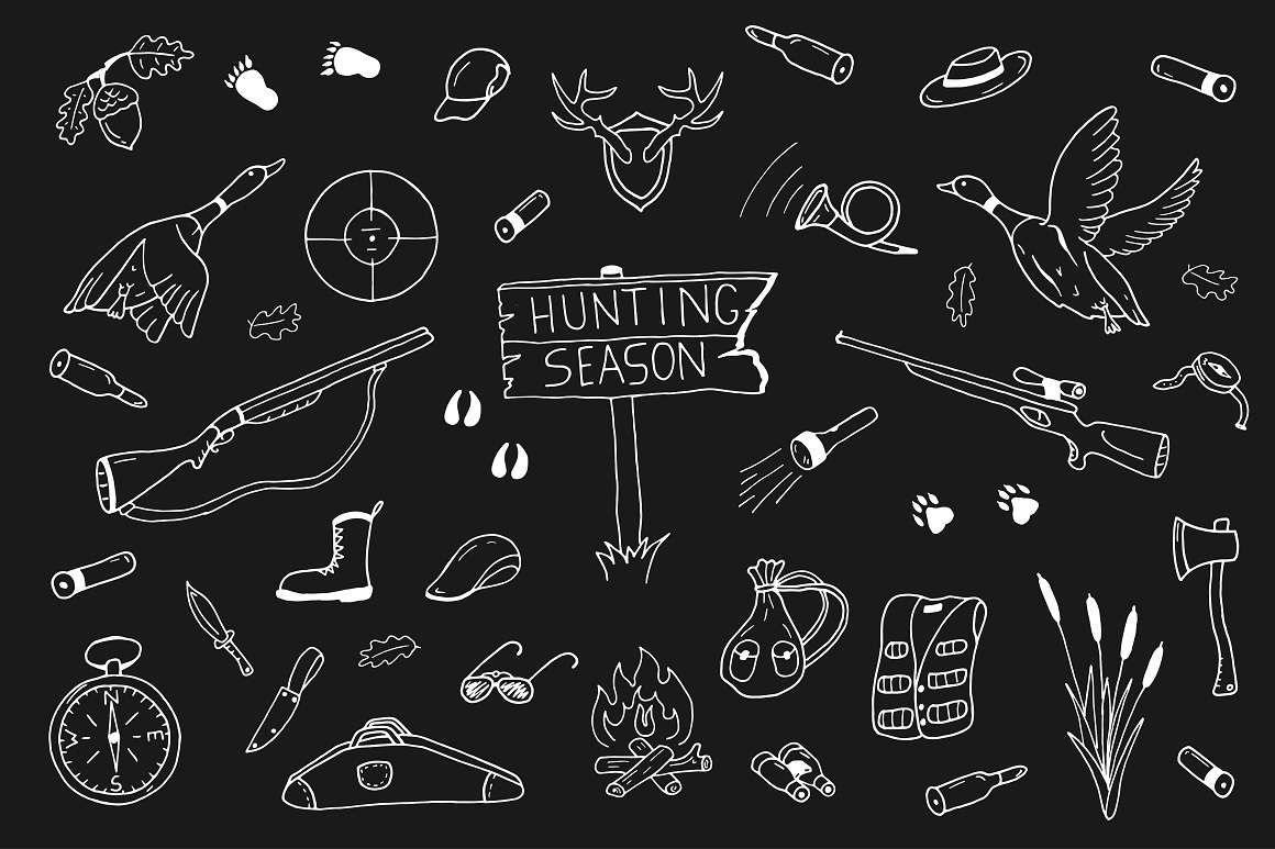 Hunting collection in doodle style example image 1