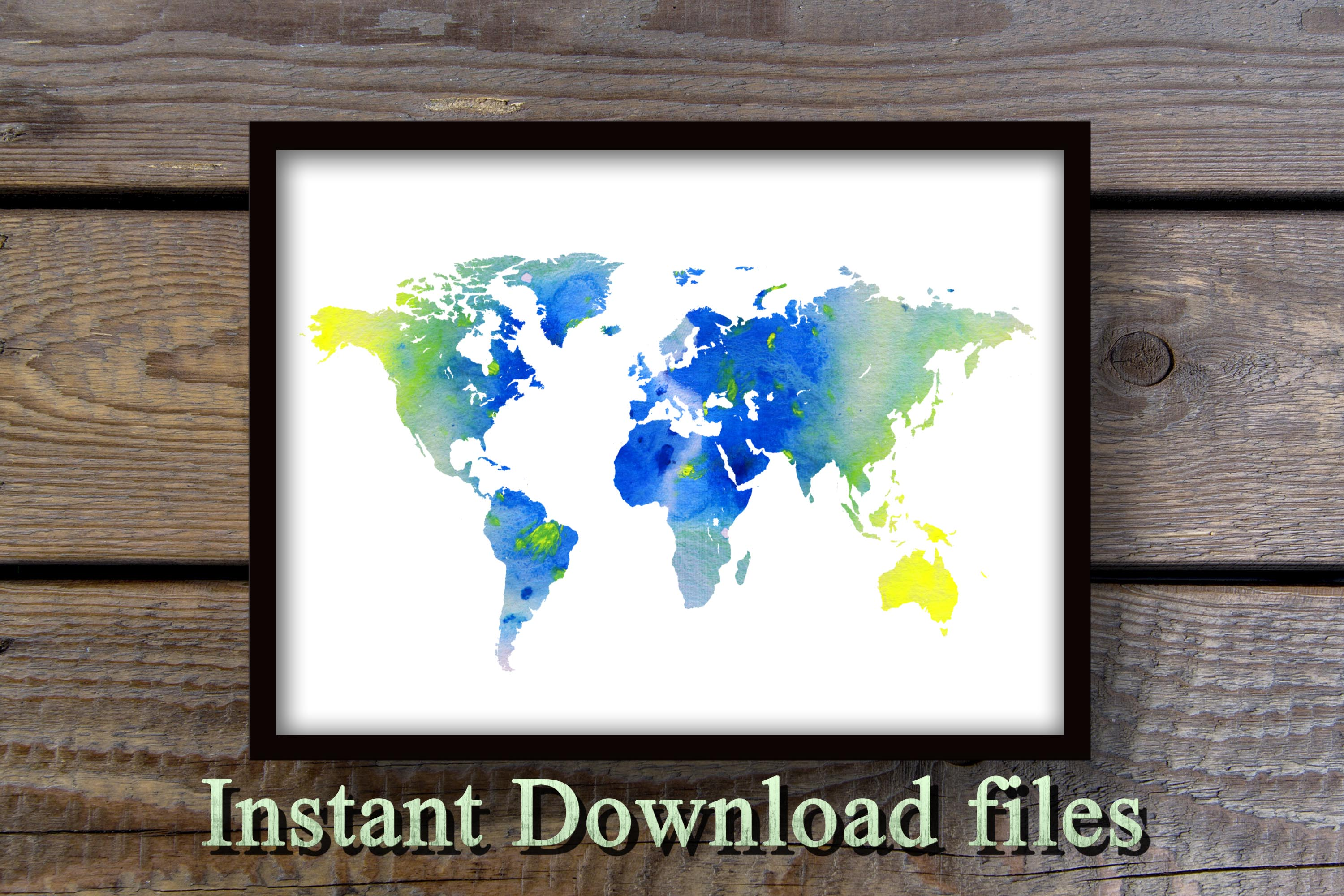 World map wall art printable download files example image 2