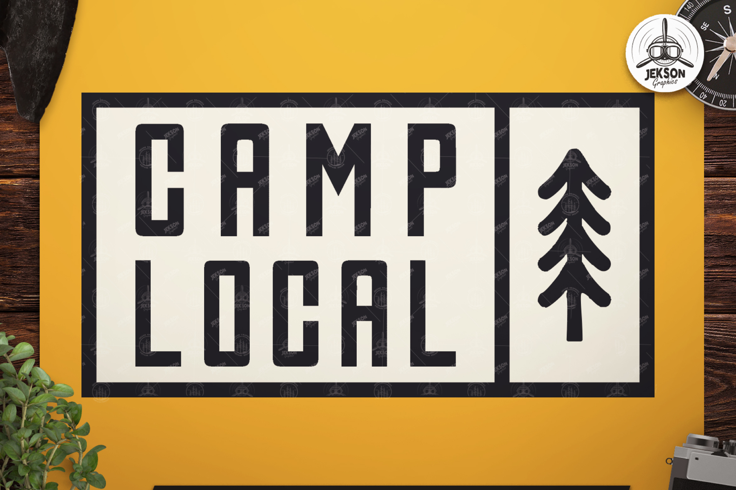 Vintage Camp Local Logo / Retro Typography Badge Travel SVG example image 1