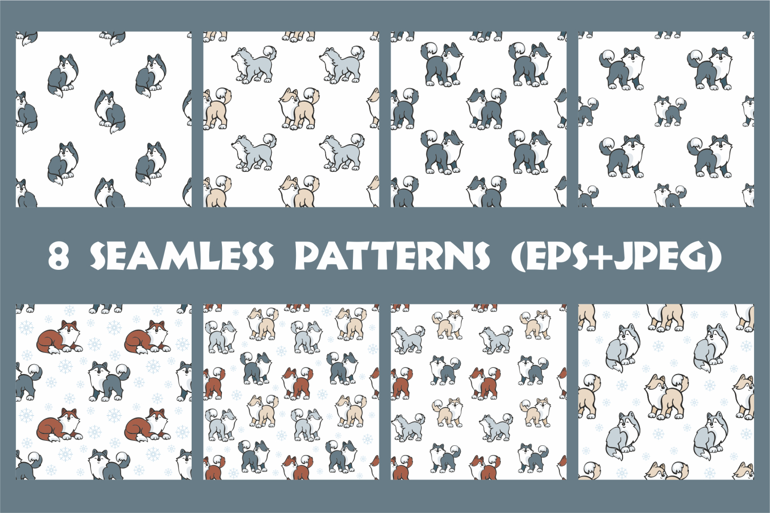 Cute husky dogs. Vector clip arts and seamless patterns. example image 3