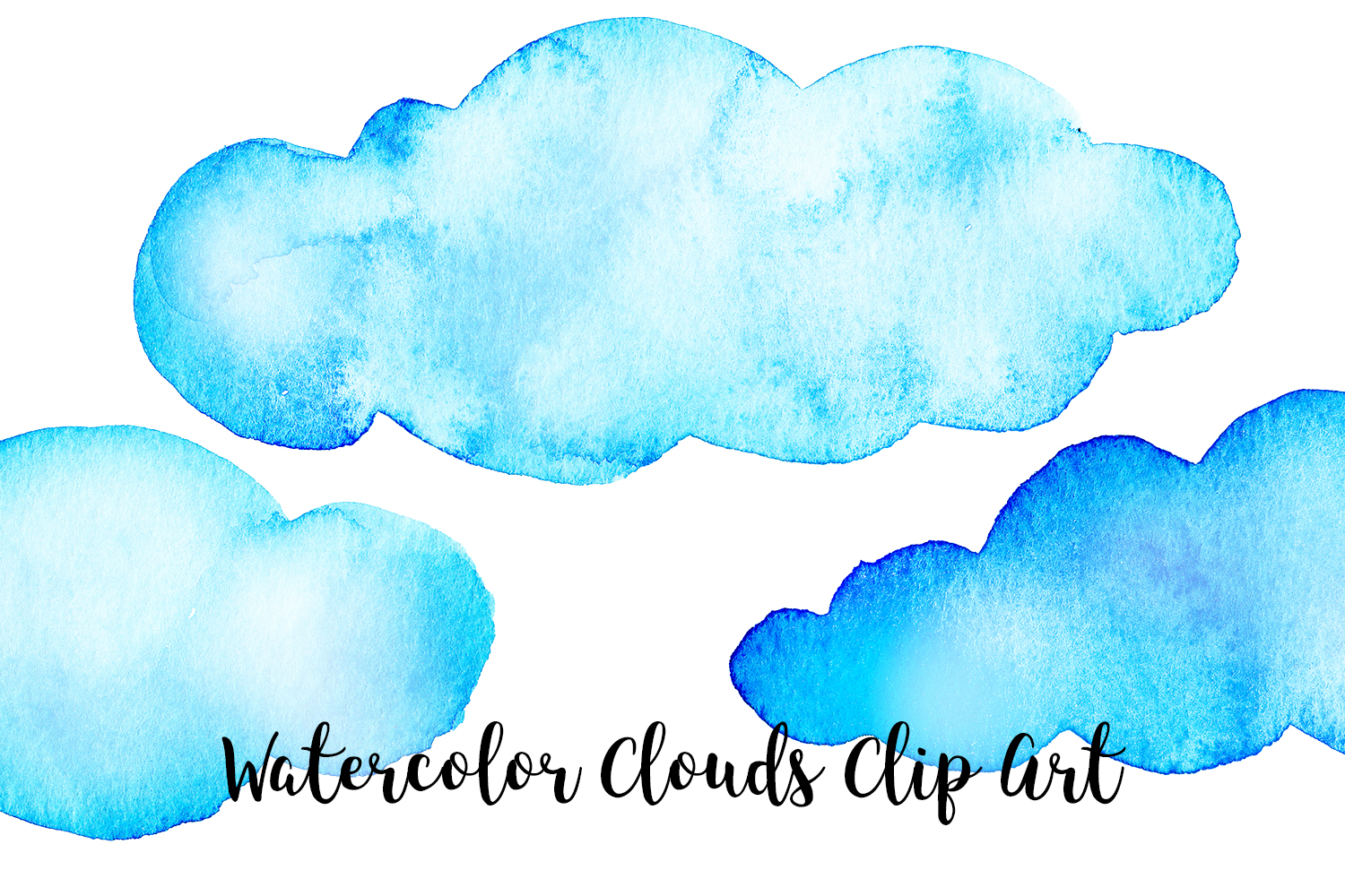 Watercolor Clouds Clip Art, Watercolor Clouds PNG example image 4