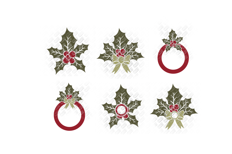 Mistletoe SVG Monogram Christmas in SVG, DXF, PNG, EPS, JPEG example image 4