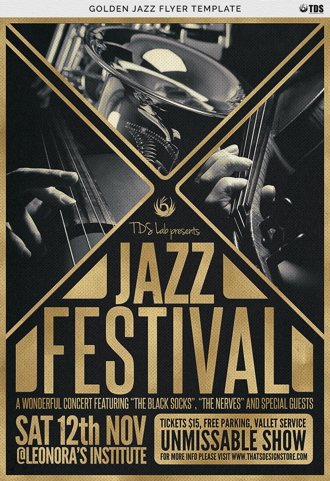 Golden Jazz Flyer Template example image 9