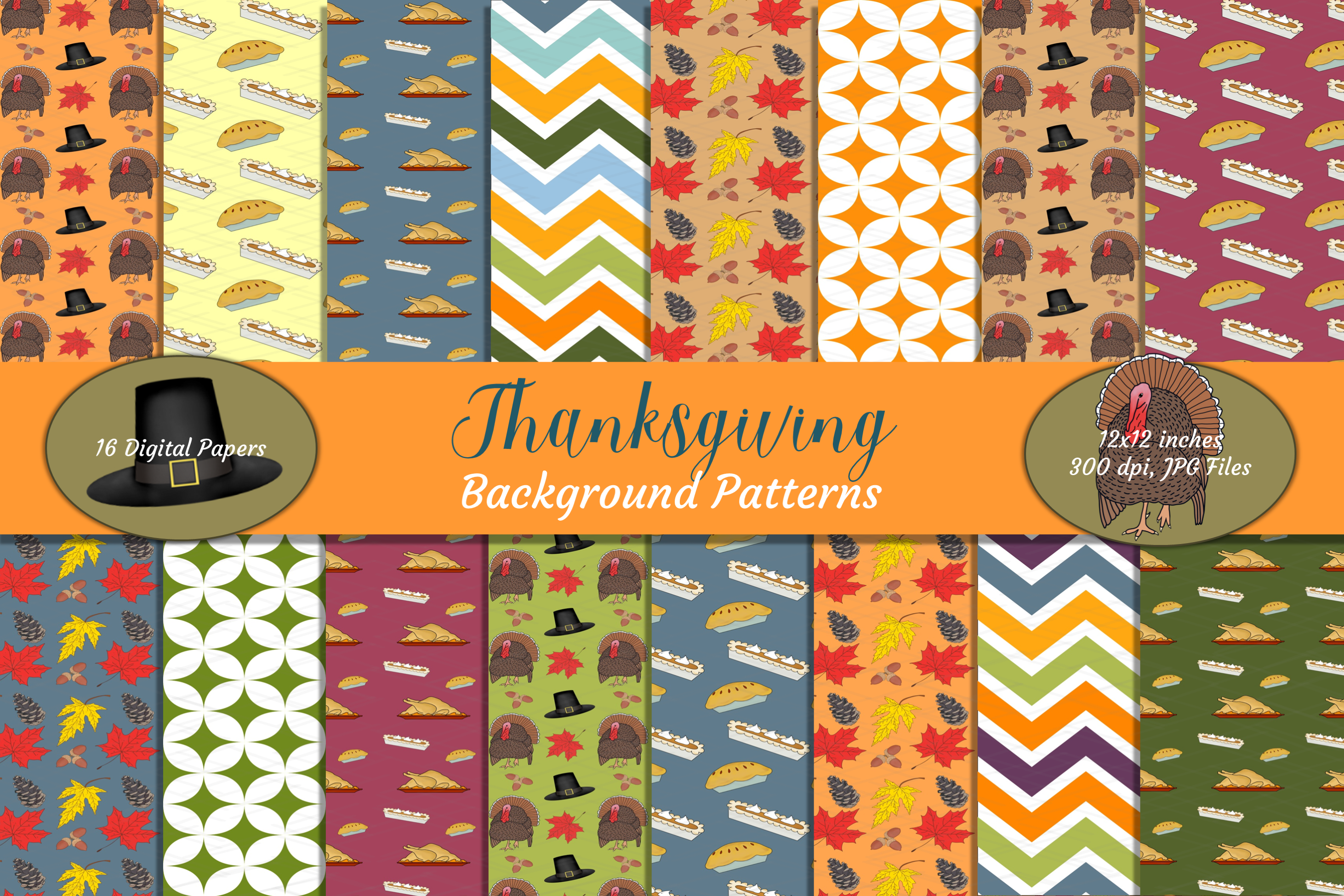 Thanksgiving Fall Patterns Digital Papers Backgrounds Bundle example image 1
