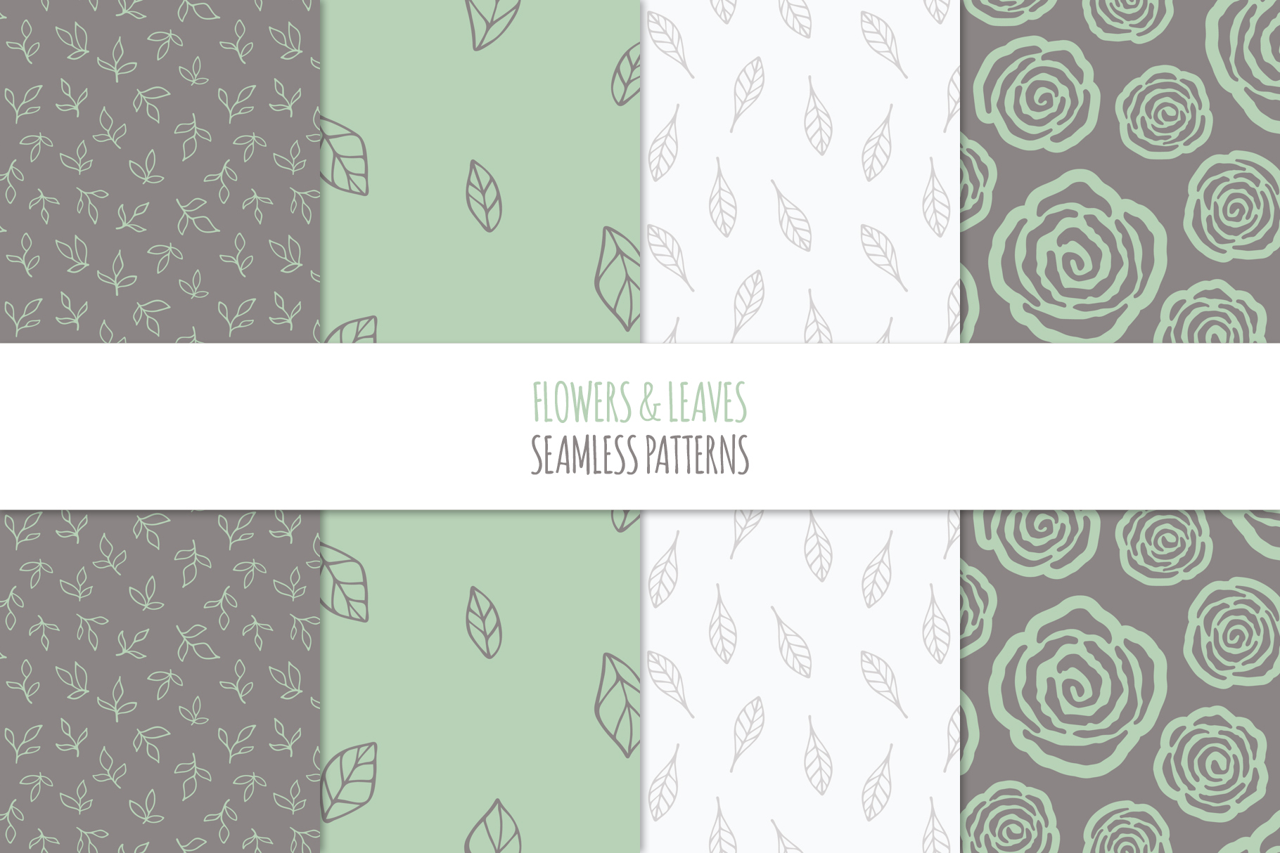 Floral Seamless Patterns - Green example image 6