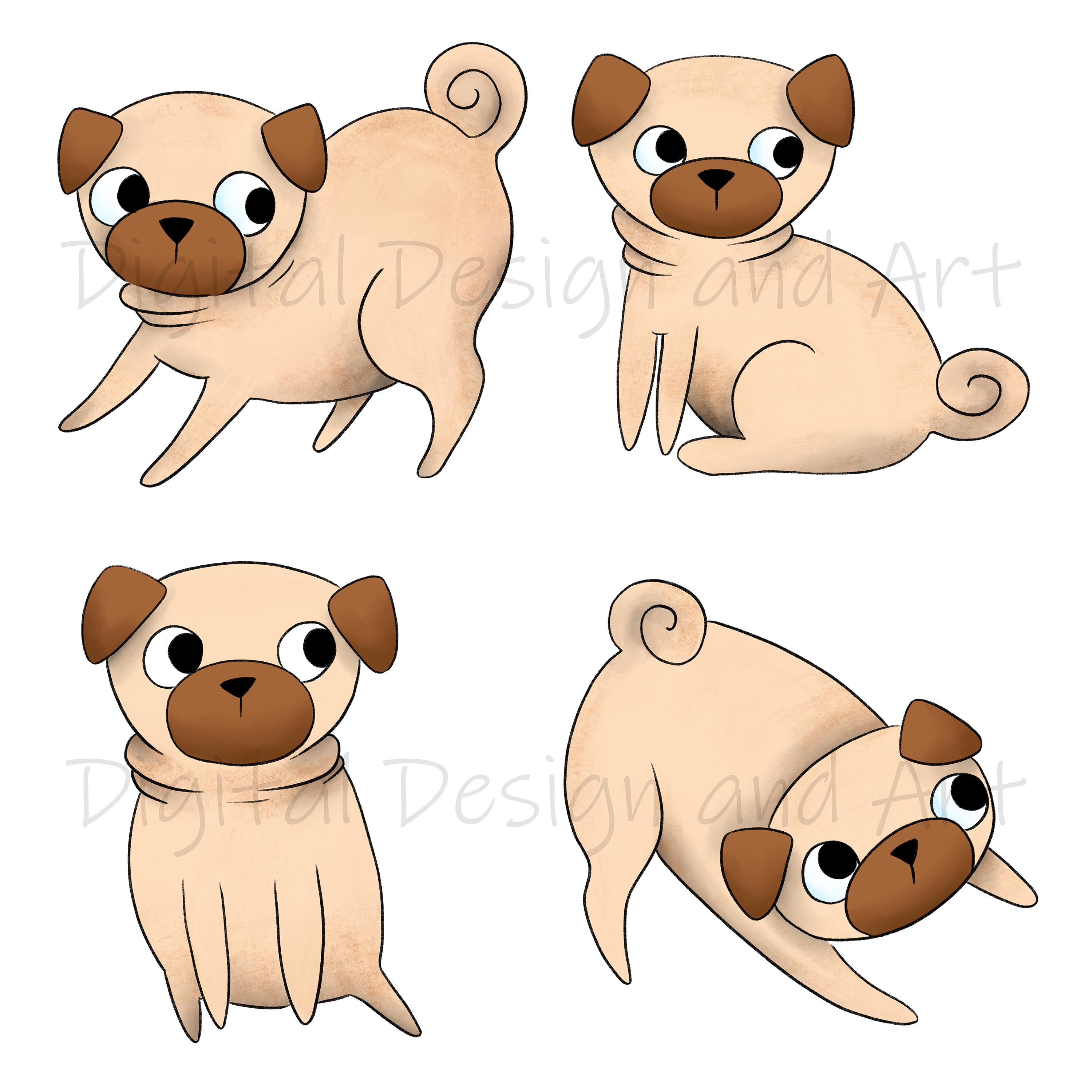 Pug clipart example image 2