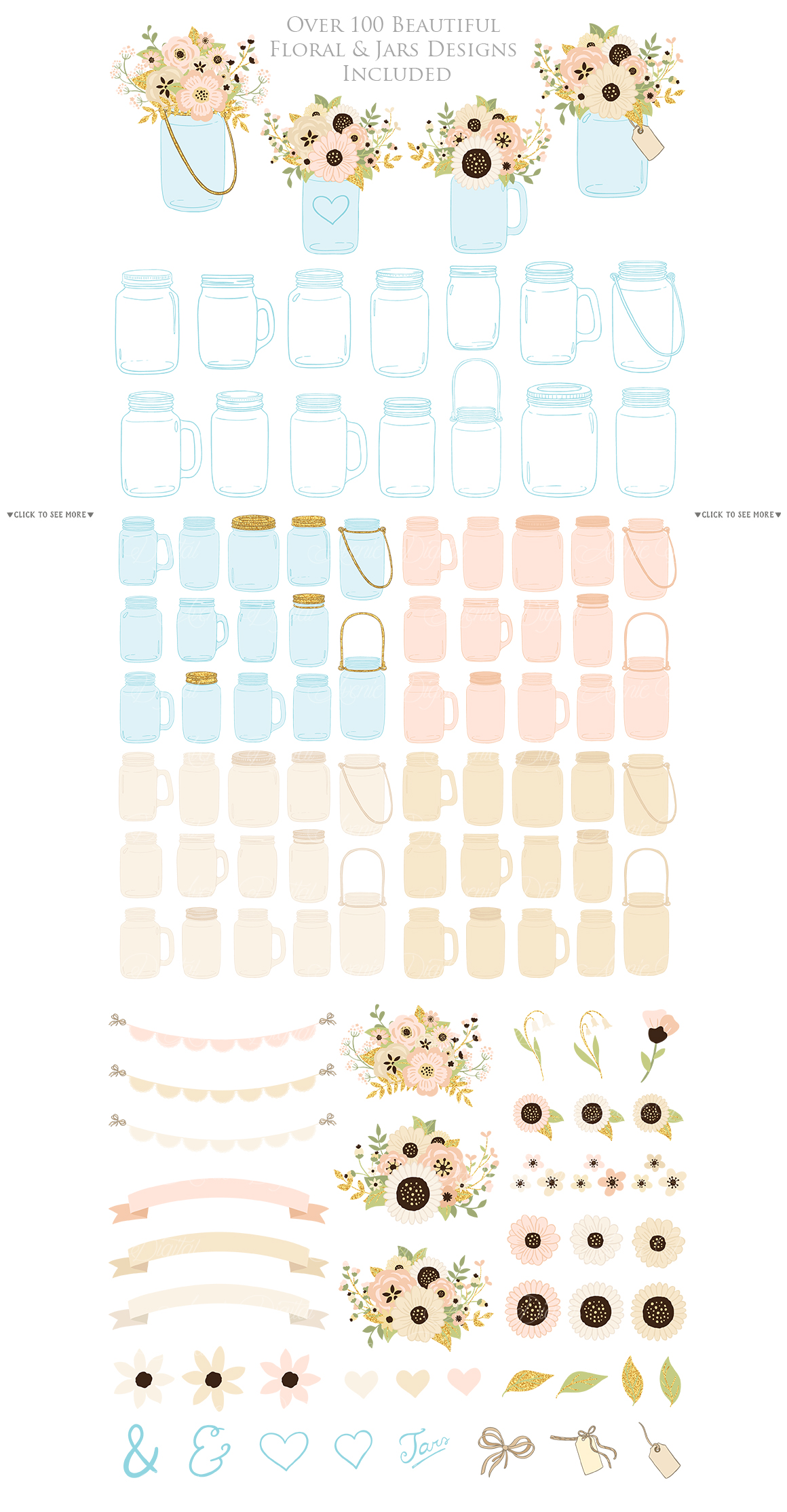 Ivory and Gold Mason Jar Floral Wedding Clipart example image 5