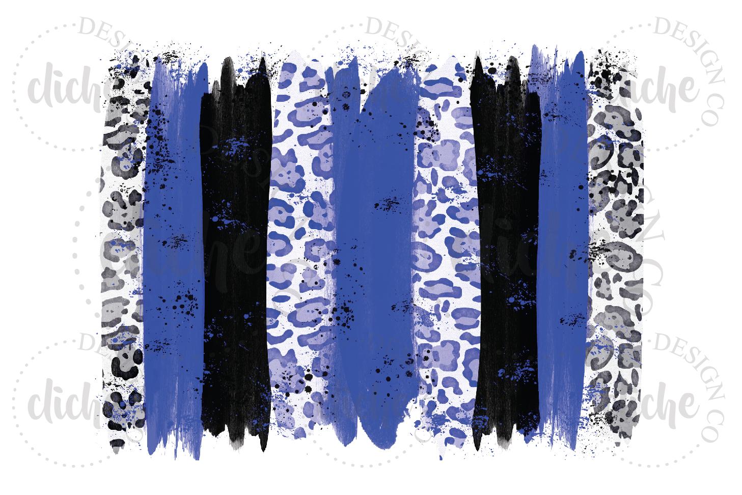 Blue Black Paint Stroke Sublimation Design Background example image 1