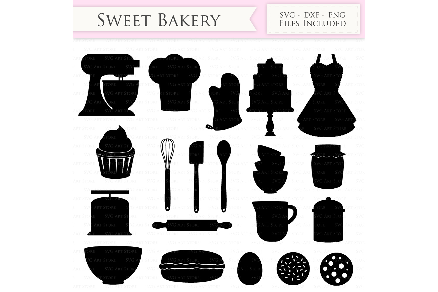 Baking SVG Bakery svg cutting files Cricut and Silhouette SVG dxf png jpg included. Cooking svg cutting files, Vintage Bakery cut files example image 1