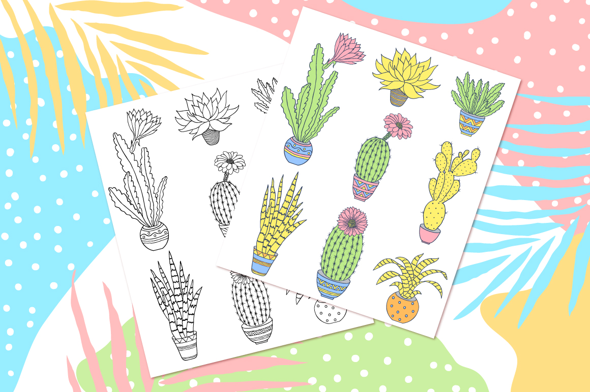 Cactuses. Patterns and cards. example image 5