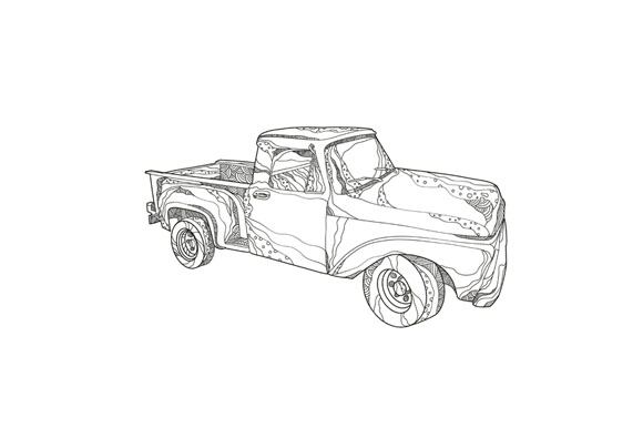 Vintage Pickup Truck Doodle Art example image 1